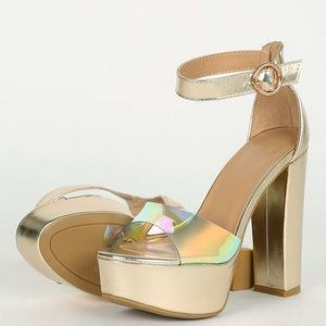 NEW🔥 Holographic Chunky Heel Ankle Strap Sandals